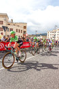 Cyclists competing in the giro d italia trieste italy Royalty Free Stock Image