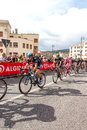 Cyclists competing in the giro d italia trieste italy Royalty Free Stock Photography