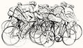 Cyclists in competition vector illustration of a group of Stock Image