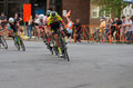 Cyclists lead pack at uptown criterium minneapolis minnesota usa – june pro or stage four of prestigious north star grand prix Royalty Free Stock Image