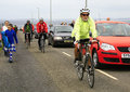 Cyclists leave John O'Groats after event Stock Images