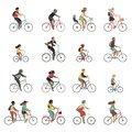 Cyclists set. Happy people riding bicycle family ride tandem bikes children woman men sports gear outdoor activity Royalty Free Stock Photo