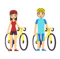 Cyclists young cartoon couple in fitness gear with bicycles Stock Photos