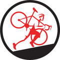 Cyclocross Athlete Running Uphill Circle Royalty Free Stock Photo