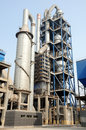 Cyclone suspension preheat and humidifying tower in a cement factory Stock Photos