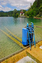 Cylinder device at lake bled two blue installed Royalty Free Stock Image
