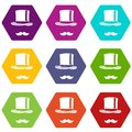 Cylinder and moustaches icon set color hexahedron Royalty Free Stock Photo