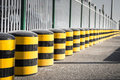 Cylindrical traffic cones are used to improve transportation Royalty Free Stock Images