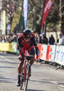 The cylist oss daniel paris nice prologue in houilles france march rd italian cyclist from bmc racing team riding during of Royalty Free Stock Photo