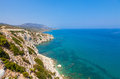 Cyprus coastline beautiful turquois water and rocky in northern Royalty Free Stock Images