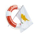 Cyprus flag in rescue circle lifebuoy life buoy d illustrations on a white background Royalty Free Stock Photos