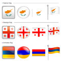 Cyprus and Georgia, Armenia Flag Icon Royalty Free Stock Image