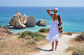 Cyprus girl walking to the beach at the aphrodite birthplace Royalty Free Stock Images