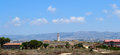 Cyprus paphos lighthouse old panorama from archaeological park jpeg srgb Royalty Free Stock Photos