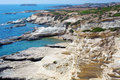 Cyprus rocky coastline next to pafos Stock Photography