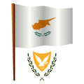 Cyprus wavy flag and coat of arms against white background vector art illustration image contains transparency Royalty Free Stock Image