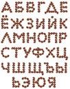Cyrillisch Alfabet dat van koffiebonen wordt gemaakt. Stock Afbeeldingen