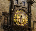 Czech astronomical clock the central portion of the prague the orloj in the republic has four moving components the zodiacal ring Stock Photography