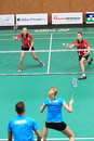 Czech badminton jiri provaznik and denisa sikalova againsts adam cwalina and alzbeta basova in the final of extraleague between Royalty Free Stock Images