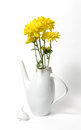 Czech ceramic white teapot with yellow flowers on white backgrou Royalty Free Stock Photo