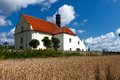 Czech church small near cemetery and village rabi Royalty Free Stock Photo