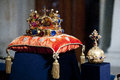 Czech crown jewels during opening ceremony of exhibition in prague castle may Stock Photos