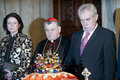 Czech crown jewels during opening ceremony of exhibition in prague castle from right president milos zeman prague archbishop Stock Photo