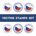 Czech flag rubber stamps set. Royalty Free Stock Photo