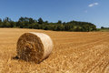 Czech landscape with hay roll straw bale Royalty Free Stock Image