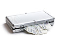 Czech money in aluminium case on white background Royalty Free Stock Photo
