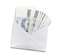 Czech money in envelope on white background Stock Photos
