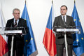 Czech president milos zeman left czech prime minister petr necas right press conference prague march Royalty Free Stock Photo