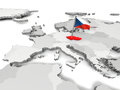 Czech republic with national flag on map of europe Stock Photo