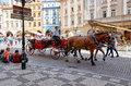 Czech Republic. Prague. Horses in the Old Town Square. 15 June 2016. Royalty Free Stock Photo