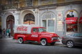 Czech Republic. Prague. Red Machine Coca-Cola on the streets. 14 June 2016.