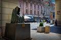 Czech Republic. Sculpture Anna Chrome `il commendatore`, spirit of the opera Mozart `Don Giovanni` in Prague. 18 June 201