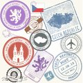 Czech travel stamps set - Prague journey symbols Royalty Free Stock Photo