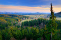 Czech typical forest landscape. Hills and villages in summer morning. Morning fall valley of Bohemian Switzerland park. Hills with Royalty Free Stock Photo