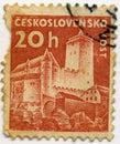 Czechoslovakia stämpel Royaltyfria Foton