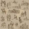 Czechoslovakia traveling series collection of an hand drawn illustrations vector description each drawing comprise of two or three Stock Photo
