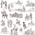 Czechoslovakia traveling series collection of an hand drawn illustrations vector description each drawing comprise of two or three Stock Images