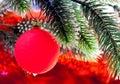 Czerwony nowy rok s ball close up na czerwonym tle Fotografia Stock