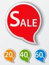 Czerwony sprzedaży mowy bąbla tags set Zdjęcia Stock