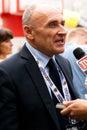 Czeslaw Lang interviewed during Tour de Pologne Stock Images