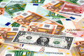 Dólar y euros Foto de archivo libre de regalías