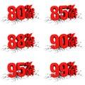 D пре став яют красный текст процентов на бе ом отказе Стоковые Фотографии RF