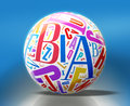 D abc globe white sphere with colorful letters over blue clip path included Royalty Free Stock Photography