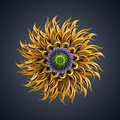 D abstract organic shape virus macro cybernetic flower or star Stock Photo