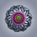 D abstract organic shape virus macro cybernetic flower or star Stock Image