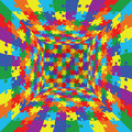 3d abstract vector rainbow color puzzle jigsaw room background Royalty Free Stock Photo